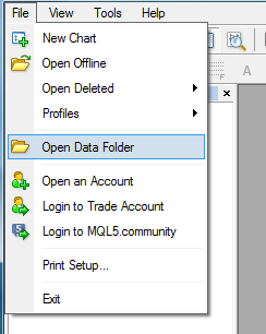 open data folder how to install forex indicator